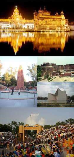 Top to bottom: Harmandir Sahib, Qila Mubarak, Gandhi Bhavan, Wagah Border, Jallianwala Bagh Memorial
