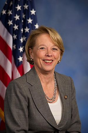 A photograph of a middle-aged woman with short, blonde hair, smiling.  She wears a gray suit, and is posed sitting before an American flag, hanging behind her to the left.