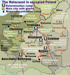 Location of Trawniki on the map of the Holocaust in Poland