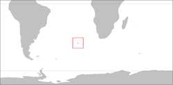 Location of Tristan da Cunha in the South Atlantic Ocean.