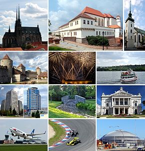Montage of Brno • Left, row 1: Cathedral of St. Peter and Paul on Petrov hill • Left, row 2: Veveří Castle • Left, row 3: High-rise buildings • Left, row 4: Brno-Tuřany International Airport • Middle, row 1: Špilberk Castle • Middle, row 2: Ignis Brunensis international firework competition • Middle, row 3: Park Lužánky • Middle, row 4: Masaryk Circuit, the Brno racing circuit • Right, row 1: Church of St. James • Right, row 2: A ship on Brno reservoir • Right, row 3: Mahen Theatre, a part of the National Theatre in Brno • Right, row 4: A part of the Brno Exhibition Centre