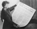 Eleanor Roosevelt with Universal Declaration of Human Rights in Spanish