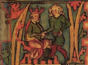 A page from an illuminated manuscript shows two male figures. On the left a seated man wears a red crown and on the right a standing man has long fair hair. Their right hands are clasped together.