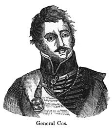 Black-and-white drawing of a man, shown from mid-chest up. He is wearing a military jacket with a high collar.
