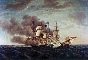 Picture of a sail-powered warship with guns ablaze.