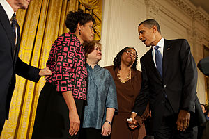 President Obama with Louvon Harris, Betty Byrd Boatner, and Judy Shepard