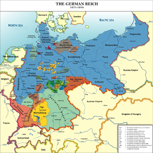 Political map of central Europe showing the 26 areas that became part of the united German Empire in 1891. Germany based in the northeast, dominates in size, occupying about 40% of the new empire.