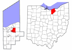 Location of Elyria in Lorain County and state of Ohio