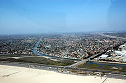 Aerial view of Huntington Beach, Brookhurst Street & Pacific Coast Highway in April 2008.