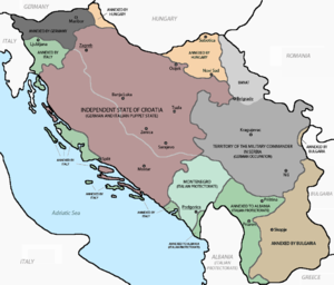 map showing the partition of Yugoslavia, 1941 to 1943