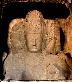 Trimurti sculpture of Lord Dattatreya from Elephanta Caves, an UNESCO World Heritage Site in Maharashtra