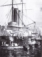 Armoured ships, HMS St George and HMS Philomel in the harbour