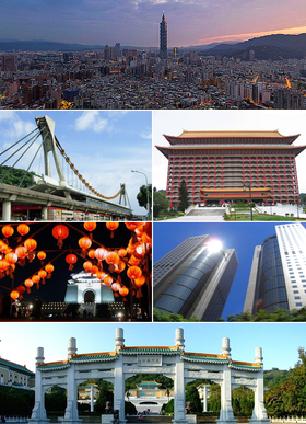 Clockwise from top: Taipei skyline, Grand Hotel, Far Eastern Plaza, National Palace Museum, Chiang Kai-shek Memorial Hall, Jiantan Station