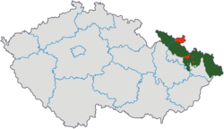 Czech Silesia (green) and the so-called Moravian enclaves in Silesia (red) in relation to the current regions of the Czech Republic
