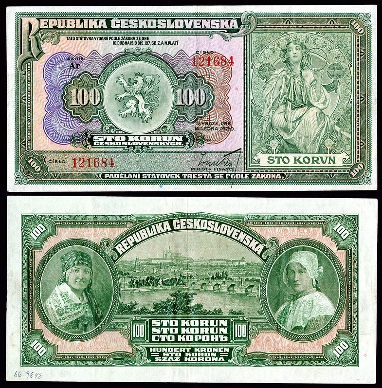 Mucha-designed artwork on a 1920 Republic of Czechoslovakia 100 korun note.