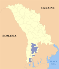 Map of Moldova highlighting Gagauzia