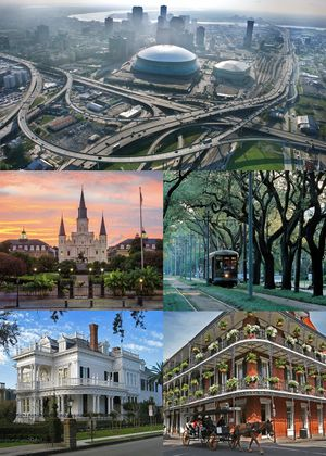 From top clockwise: View of the Central Business District and Mercedes-Benz Superdome, an RTA Streetcar passing through Mid-City, a view of Royal Street in the French Quarter, a typical New Orleans mansion off St. Charles Avenue, and the St. Louis Cathedral in Jackson Square