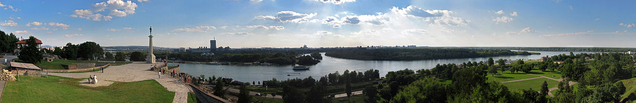 Panoramic view of Belgrade and the confluence of the Sava River and the Danube