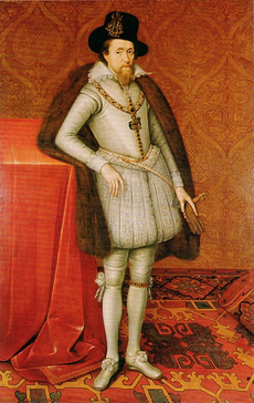 A full length portrait of a middle-aged man, wearing a grey doublet with grey tights, and brown fur draped over his shoulders.