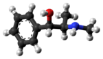 Ball-and-stick model of the (1S,2R)-ephedrine molecule