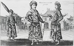 A black-and-white print depicting three standing men wearing turbans, a long robe with a sash, and shoes with rising pointed tips, against an architectural background of buildings with roofs that point upwards. The man on the left, slightly in the background, is carrying a long folded umbrella on his left shoulder. The one in the center, who faces the viewer, is resting on a cane. The man on the right, seen in profile view, faces the center man.
