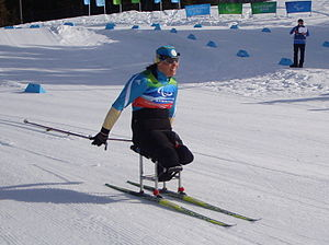 A woman sitting on sit-skis, she is pushing herself with two poles