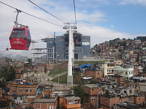 Gondola lift leaving the Estação da Baiana (Baiana Station) within the Complexo do Alemão; which is used by local residents and tourists