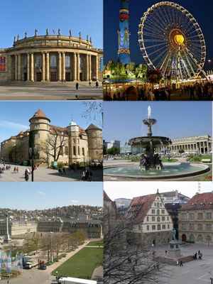 Clockwise from top left: Staatstheater, Cannstatter Volksfest in Bad Cannstatt, fountain at Schlossplatz, Fruchtkasten façade and the statue of Friedrich Schiller at Schillerplatz, New Palace, and Old Castle at Schillerplatz.