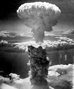 "The rising mushroom cloud from the Nagaskai ""Fat Man"" bomb, August 9, 1945"