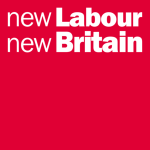 "A red rectangle with the words ""new Labour new Britain"" in white letters across the top"