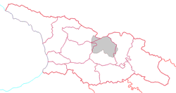 Location of South Ossetia (grey) in Georgia.