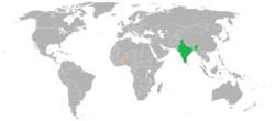 Map indicating locations of India and Benin