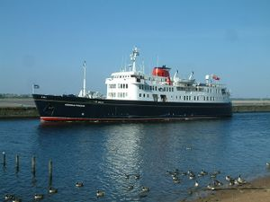 MV Hebridean Princess in the Manchester Ship Canal at Runcorn
