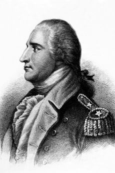 A head and shoulders profile engraving of Arnold.  He is facing left, wearing a uniform with two stars on the shoulder epaulet.  His hair is tied back.
