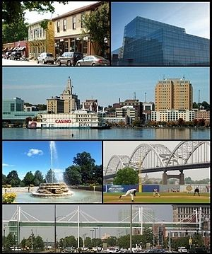 Top row: Village of East Davenport, Figge Art Museum; Second row: Downtown Davenport, Third row: Fountain in Vander Veer Botanical Park, baseball in Modern Woodmen Park; Bottom row: Davenport Skybridge