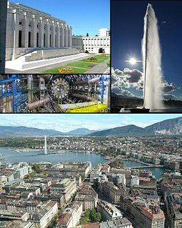 Top left: Palace of Nations, Middle left: ATLAS experiment at CERN, Right: Jet d'Eau, Bottom: View over Geneva and the lake.