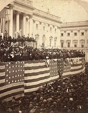 A large crowd of people outside the United States Capitol building