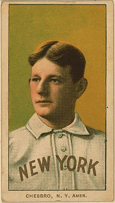 "A baseball card featuring a player wearing a white shirt with a black curved ""NEW YORK"" on the front. The bottom of the card reads ""CHESBRO, N. Y. AMER."""