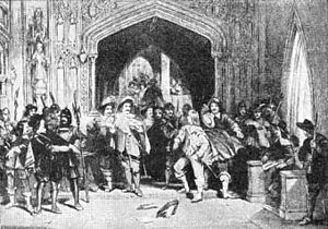 Colonel Thomas Pride refusing admission to the Presbyterian members of the Long Parliament.