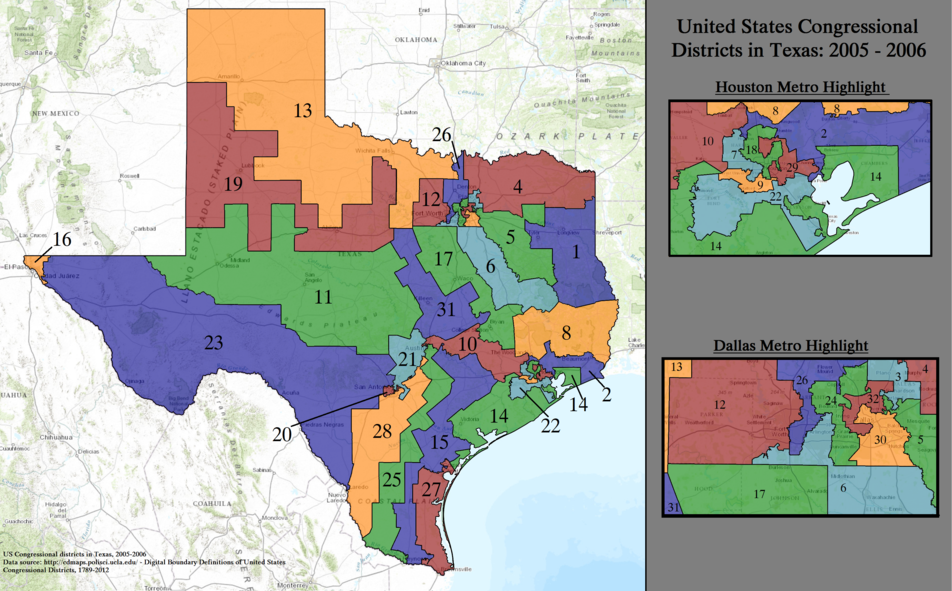 United States Congressional Districts in Texas, 2005–2006.tif
