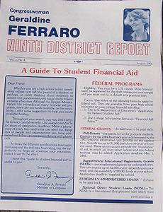 Regular size newsletter, red and blue ink in places, Ferraro's picture at top