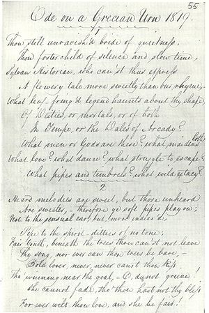 "Manuscript in Keats's hand titled ""Ode on a Grecian Urn 1819."" It is a fair copy in pen and ink of the first two verses of the poem. The writing is highly legible, tall and elegant, with well-formed letters and a marked slope to the right. The capital letters are distinctive and artistically formed. Even-numbered lines are indented with lines 7 and 10 are further indented. A scallopy line is drawn beneath the heading and between the verses."
