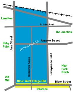 Runnymede Bloor West Village BIA neighbourhood map