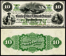 1872 $10 Bank of Prince Edward Island banknote depicting fishing