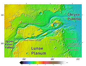This color-coded elevation map was produced from data collected by Mars Global Surveyor.It shows an area around Northern Kasei Valles, showing relationships among Kasei Valles, Bahram Vallis, Vedra Vallis, Maumee Vallis, and Maja Valles. Map location is in Lunae Palus quadrangle and includes parts of Lunae Planum and Chryse Planitia.