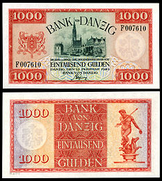 1,000 Danzig gulden (1924) depicting City Hall