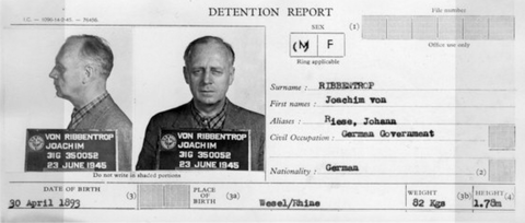 Small card titled DETENTION REPORT contains mugshots of Ribbentrop and other statistical information.