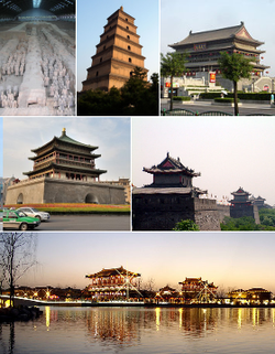 From top: Xian Terracotta Warriors Museum, Giant Wild Goose Pagoda, Drum Tower of Xi'an, Bell Tower of Xi'an, City wall of Xi'an, Tang Paradise at night