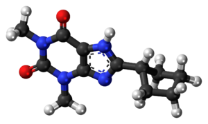 Ball-and-stick model of the 8-CPT molecule