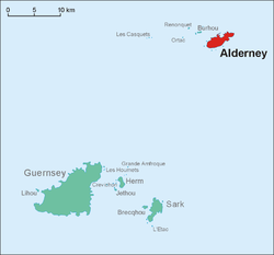 Location of Alderney (red) in relation to Guernsey.